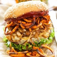 Santa Fe Veggie Burgers with Sweet Potato Fries, Caramelized Onions and Chipotle Ketchup