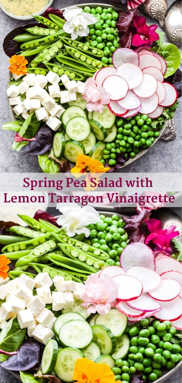 This Spring Pea Salad is a beautiful yet easy to make salad for Easter, Mother's Day or your next spring dinner party. Full of fresh spring produce and topped off with a lemon tarragon vinaigrette. It's sure to catch everyone's eye! #salad #peas #spring #vegetarian #healthyrecipe #easter #radishes #glutenfree #mothersday