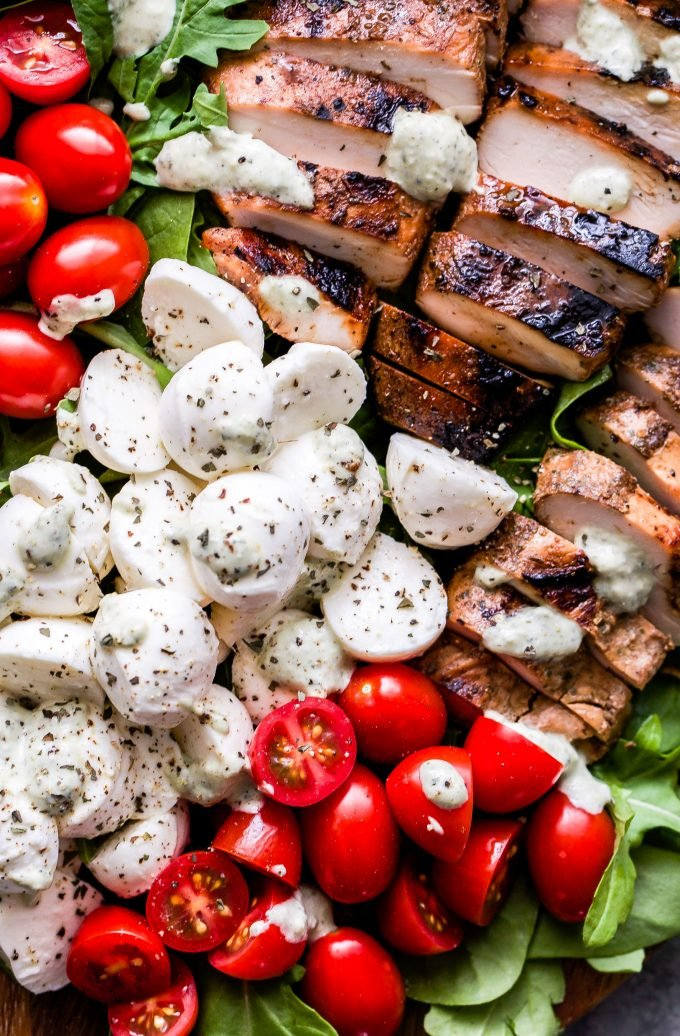 Caprese Grilled Chicken Salad closeup