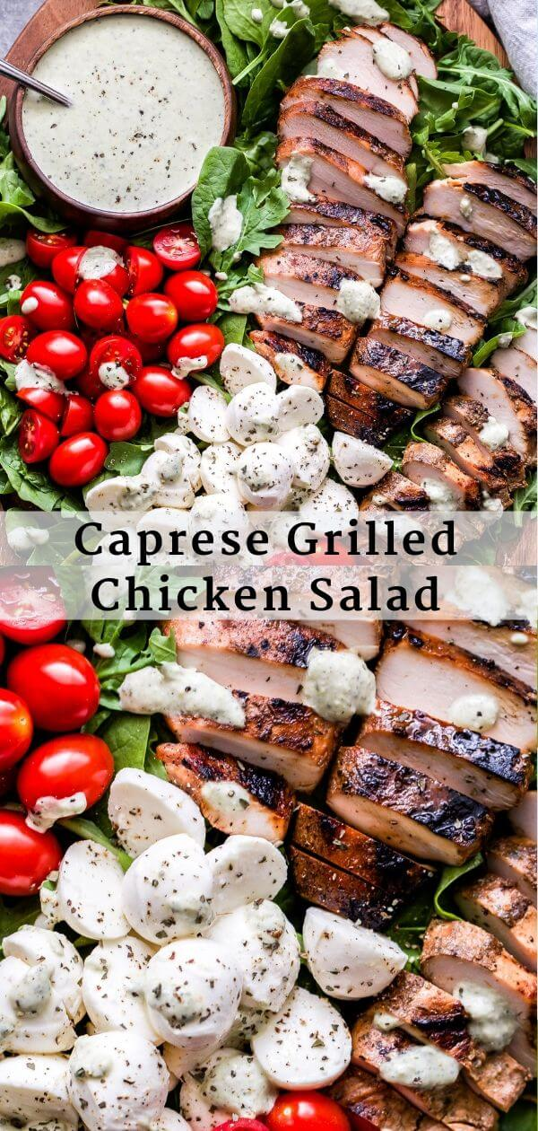 Caprese Grilled Chicken Salad Pinterest collage