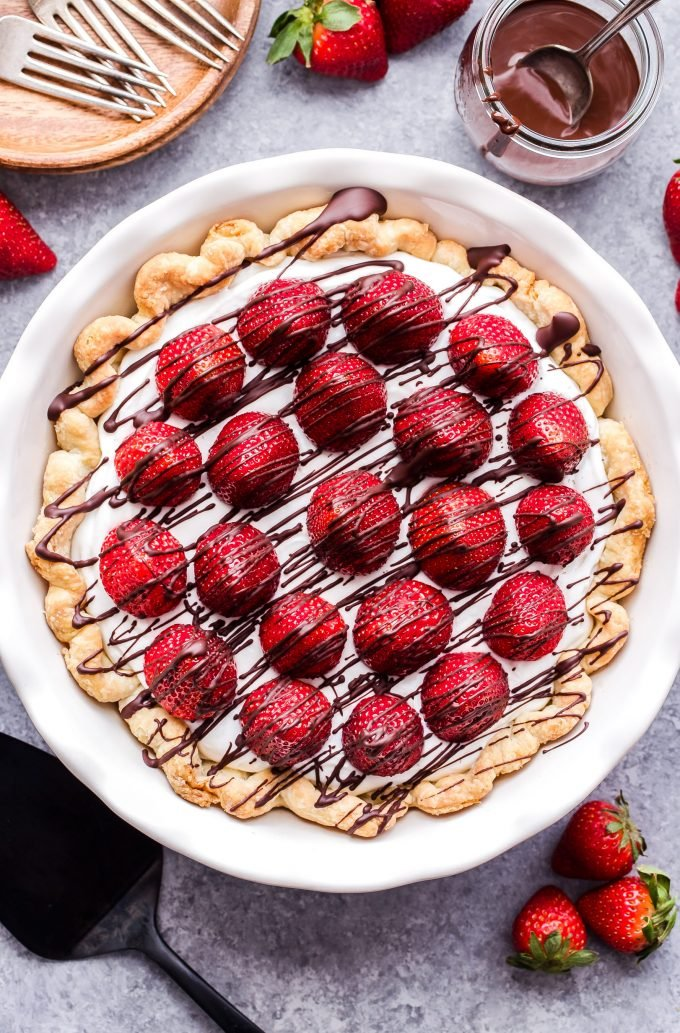 Chocolate Drizzled Strawberries and Almond Cream Pie overhead photo