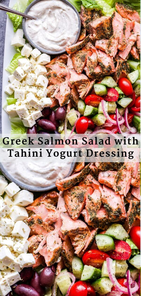 Greek Salmon Salad with Tahini Yogurt Dressing Pinterest collage