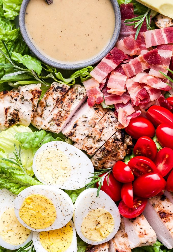 Grilled Rosemary Chicken Salad with Honey Mustard Dressing with tomatoes, bacon and hard boiled eggs