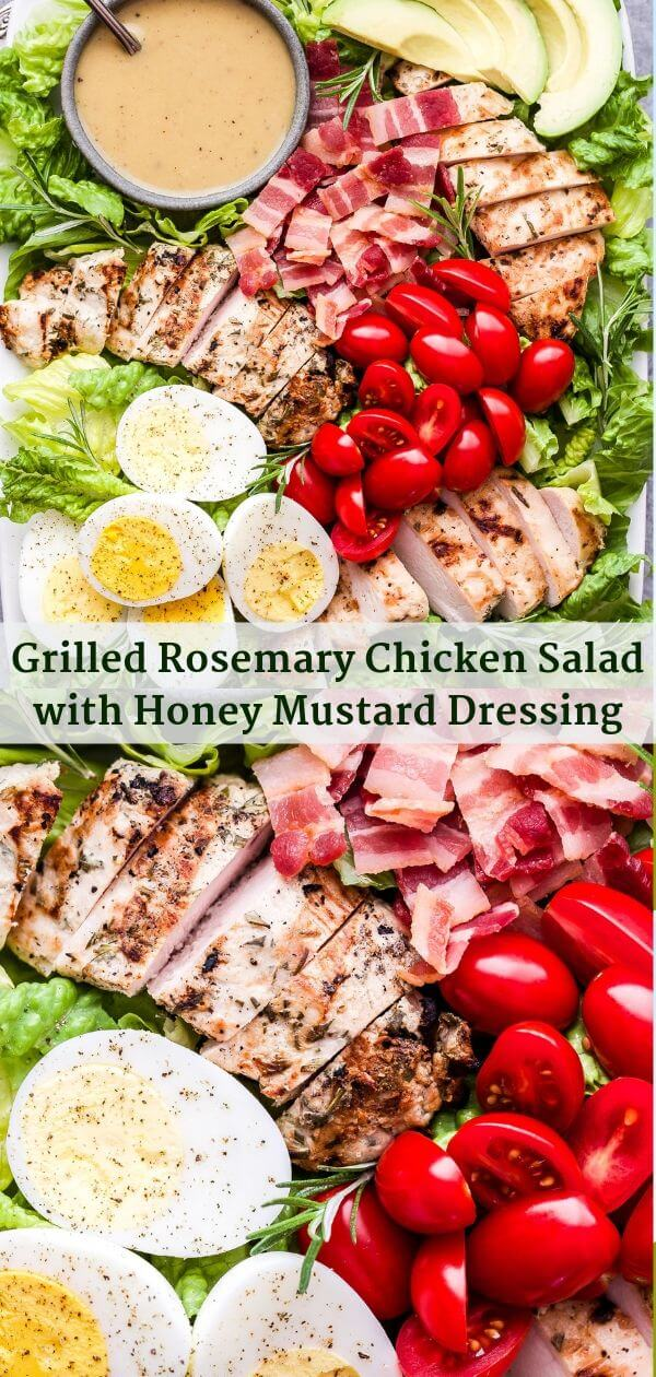 Grilled Rosemary Chicken Salad with Honey Mustard Dressing Pinterest collage