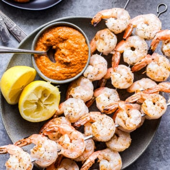 Grilled Shrimp with Romesco Sauce with glass of wine