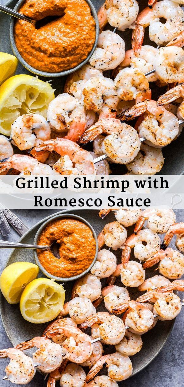 Grilled Shrimp with Romesco Sauce Pinterest collage