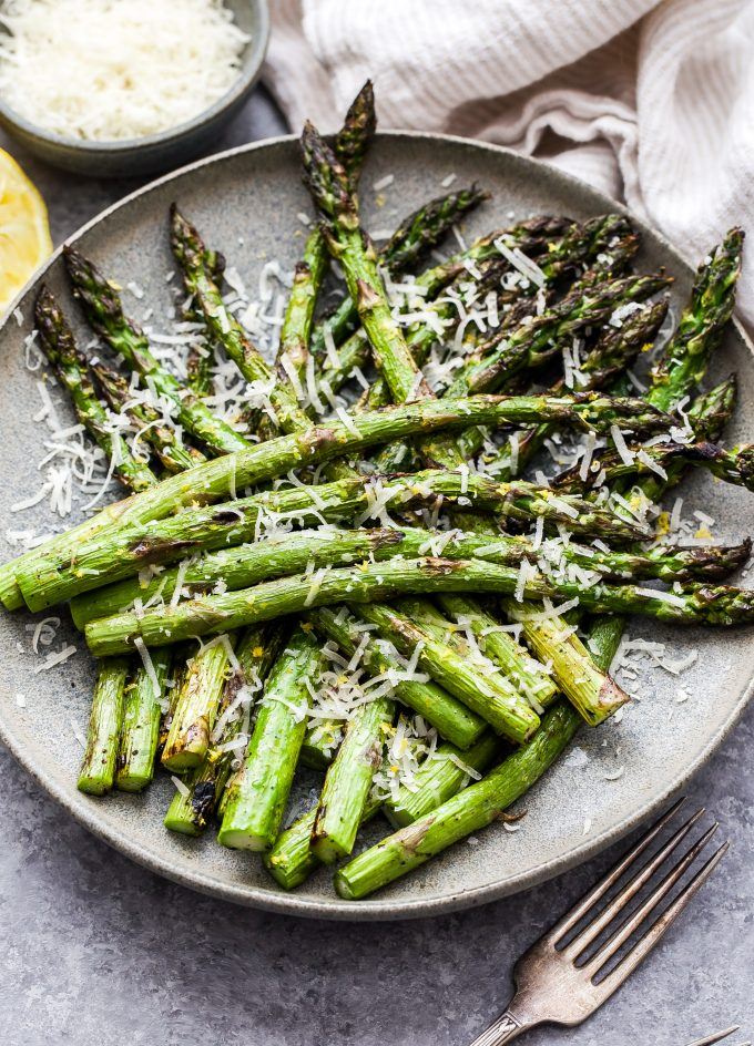 Lemon Parmesan Grilled Asparagus on gray plate