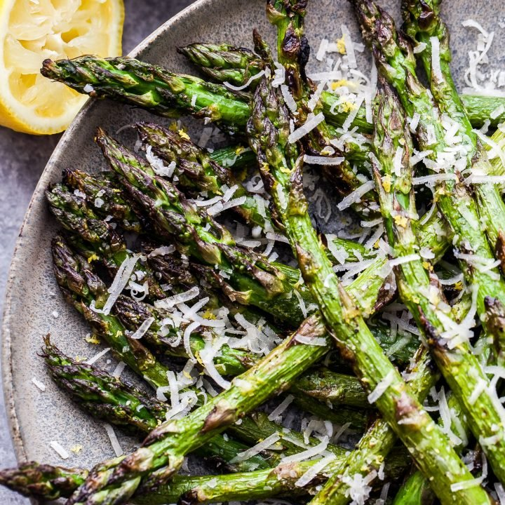 Lemon Parmesan Grilled Asparagus close up of asparagus