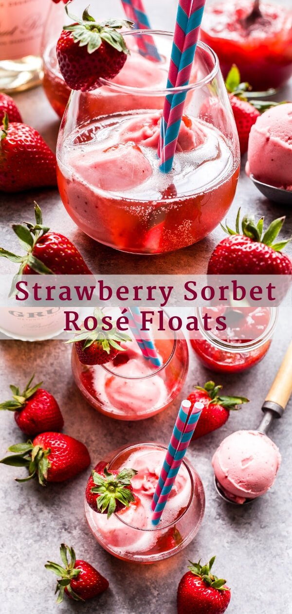 Strawberry Sorbet Rosé Floats Pinterest collage