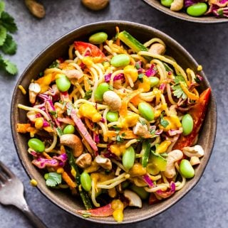 Thai Noodle Salad with Cashew Carrot Ginger Sauce in bowl with cashews on top
