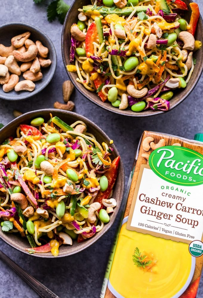 Thai Noodle Salad with Cashew Carrot Ginger Sauce in two bowls