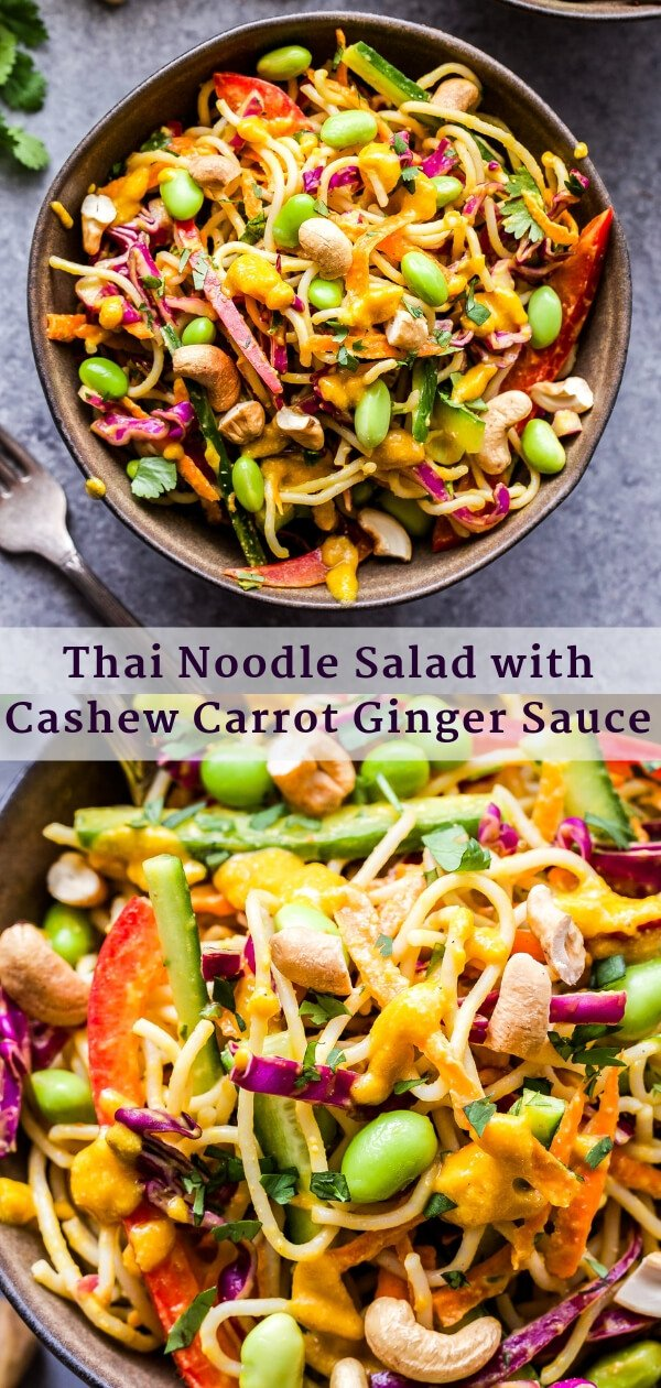 Thai Noodle Salad with Cashew Carrot Ginger Sauce Pinterest collage