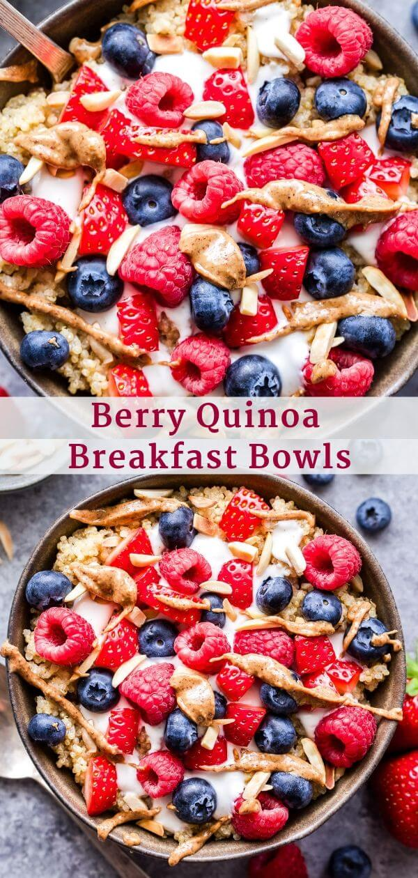 Berry Quinoa Breakfast Bowls Pinterest collage