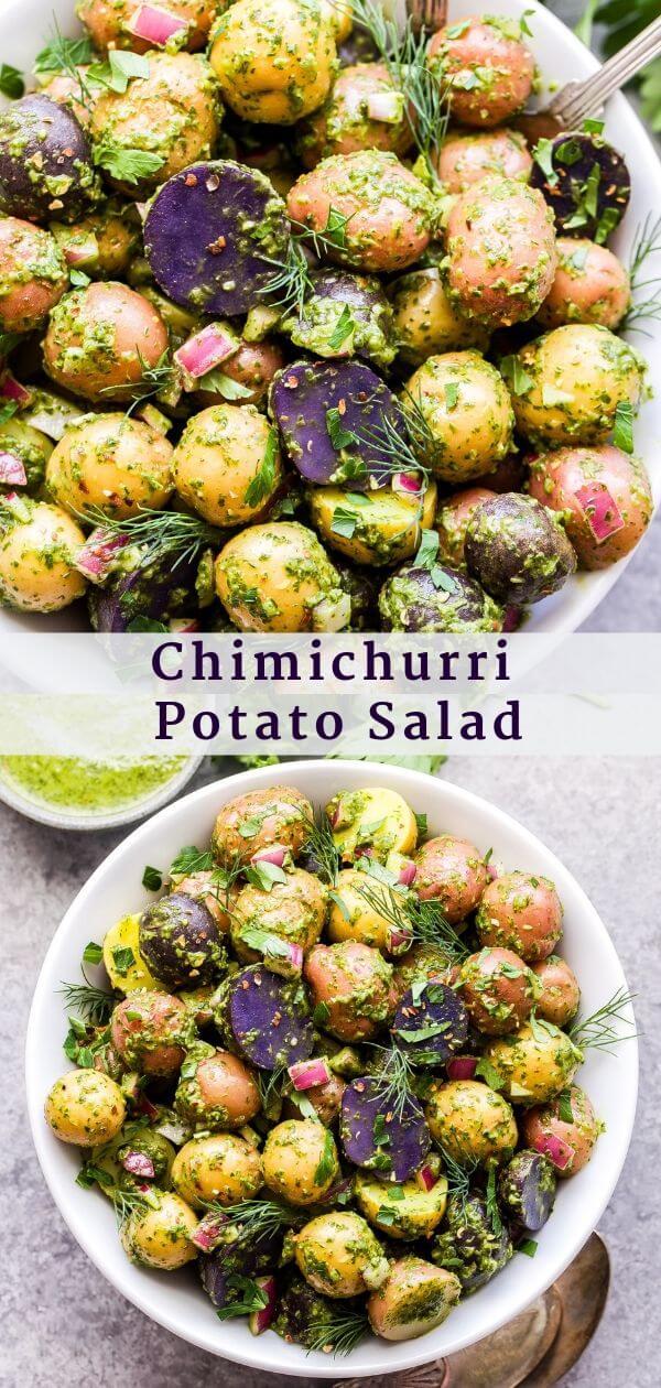 Chimichurri Potato Salad Pinterest collage