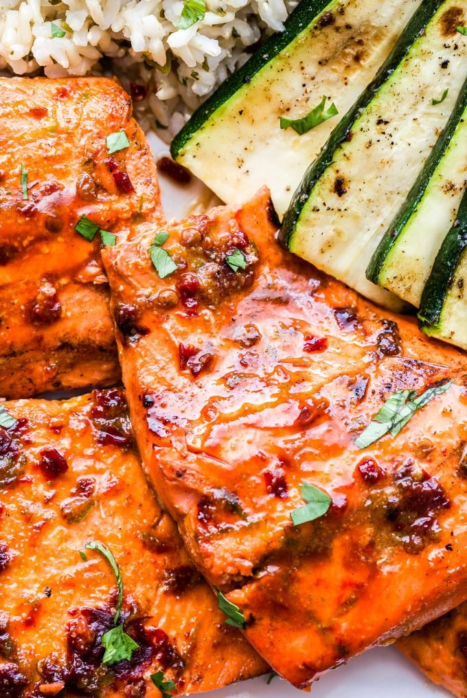 Chipotle Maple Grilled Salmon with grilled zucchini