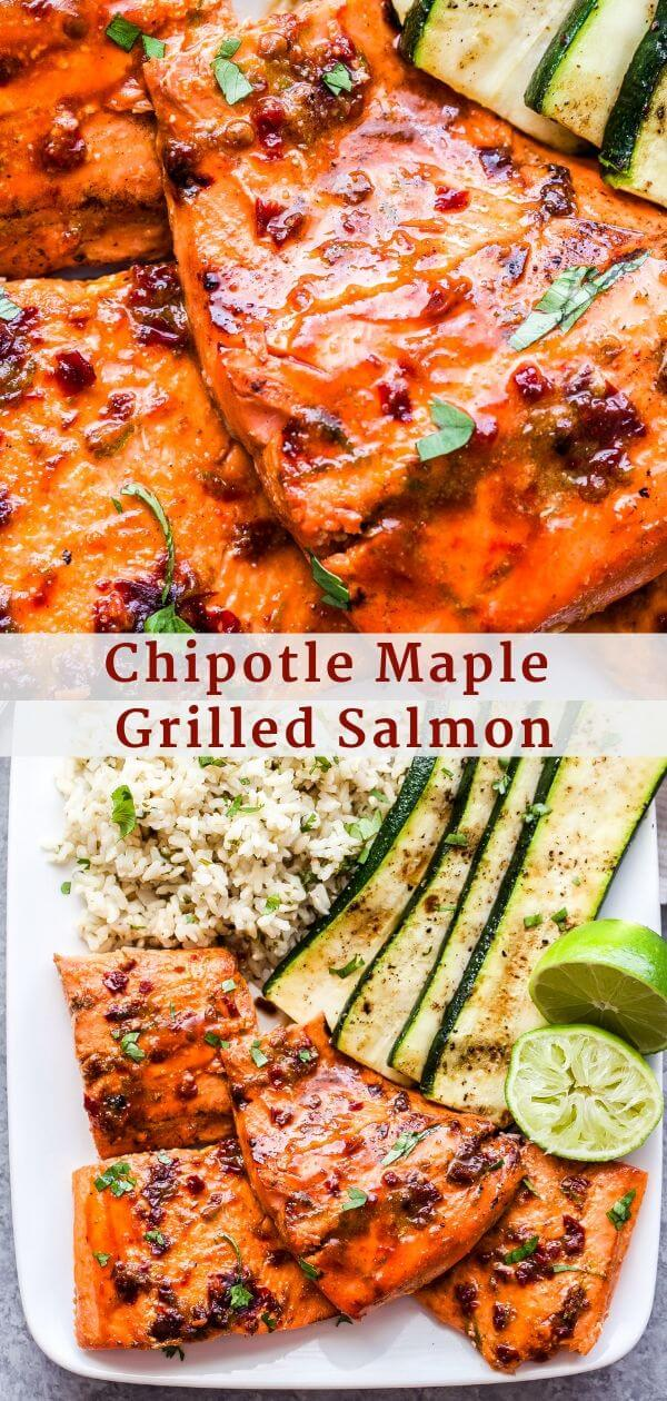 Chipotle Maple Grilled Salmon Pinterest collage