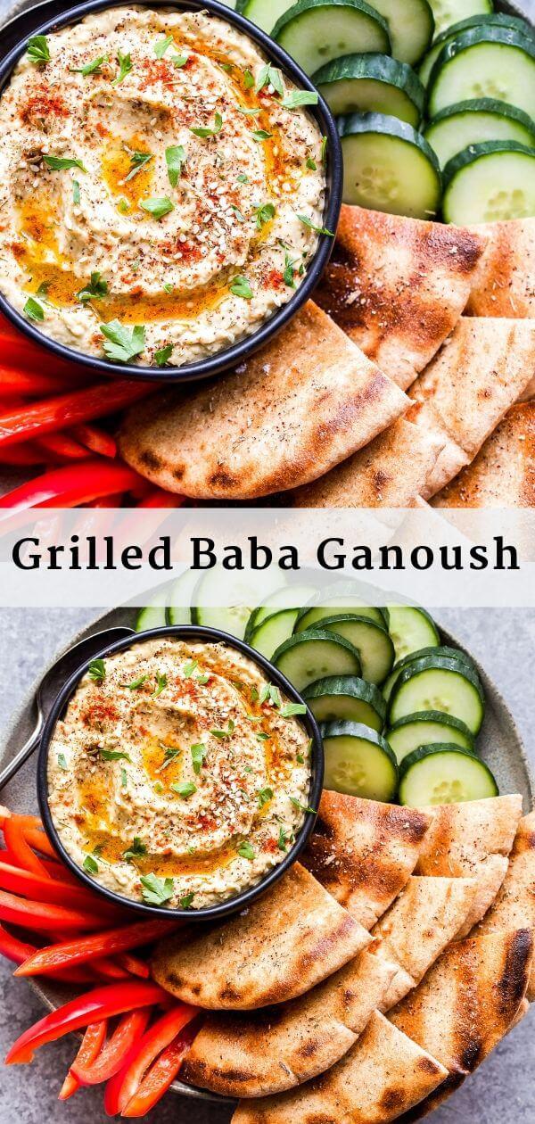 Grilled Baba Ganoush Pinterest collage