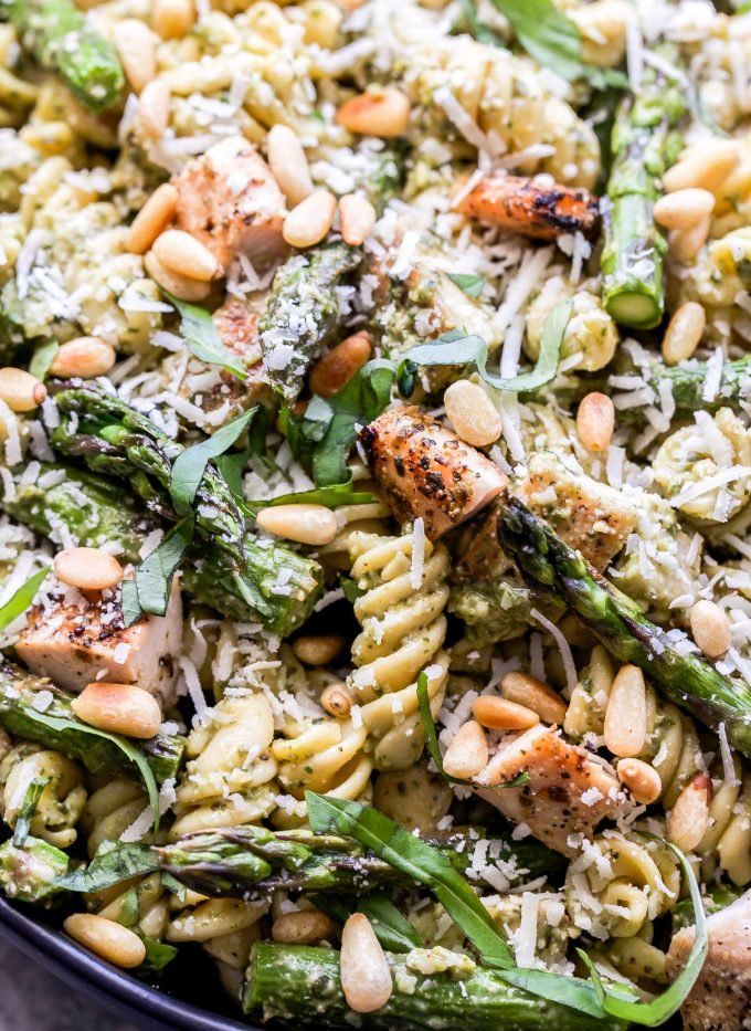 Grilled Chicken and Asparagus Pesto Pasta closeup photograph.