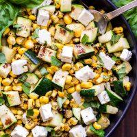 Grilled Zucchini Corn Salad with Lemon Basil Vinaigrette