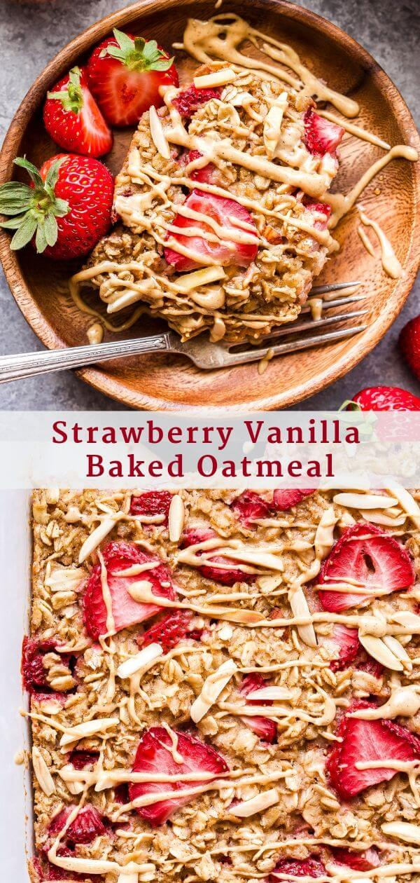 Strawberry Vanilla Baked Oatmeal Pinterest collage