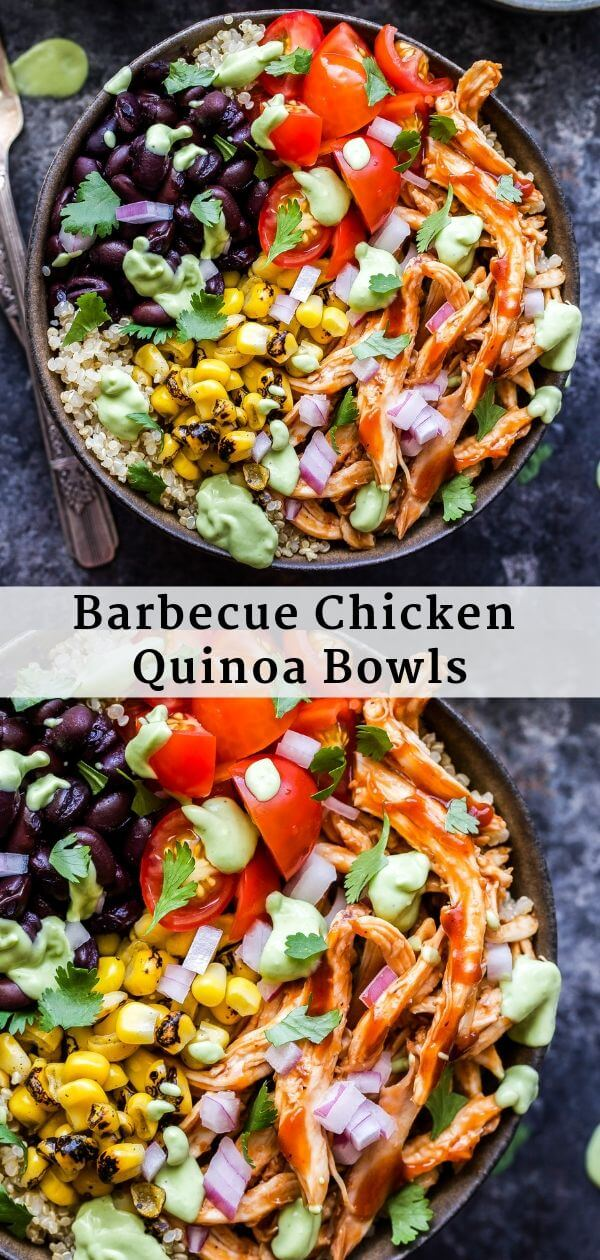Barbecue Chicken Quinoa Bowls Pinterest Collage