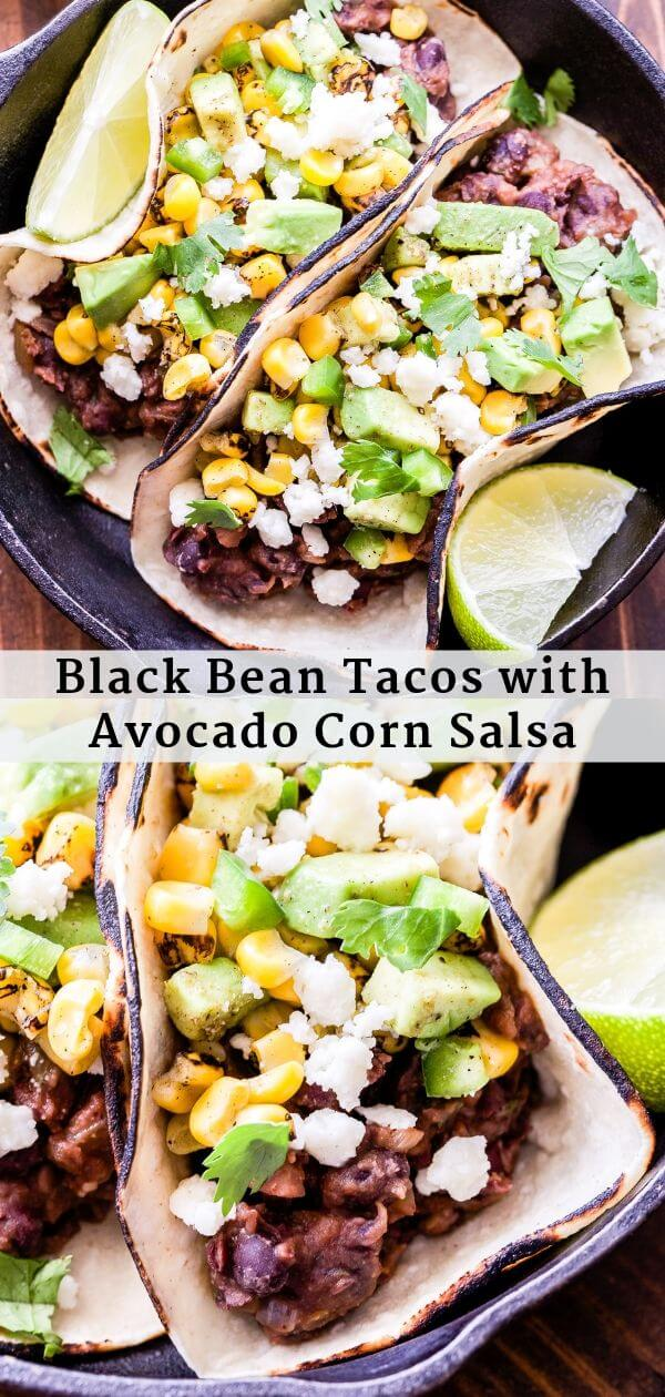 Black Bean Tacos with Avocado Corn Salsa Pinterest collage