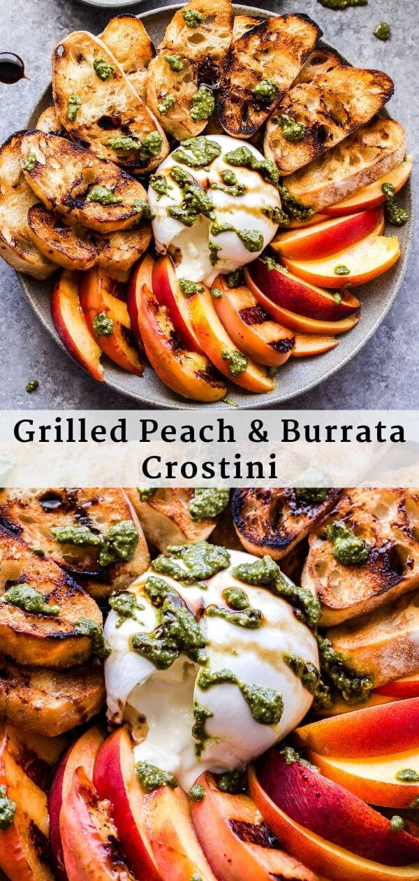 Grilled Peach and Burrata Crostini Pinterest Collage