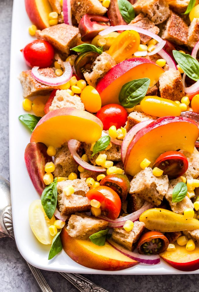 Peach, Tomato and Corn Panzanella closeup photo