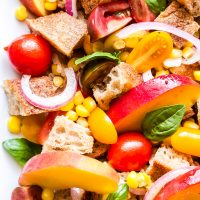 Peach, Tomato and Corn Panzanella