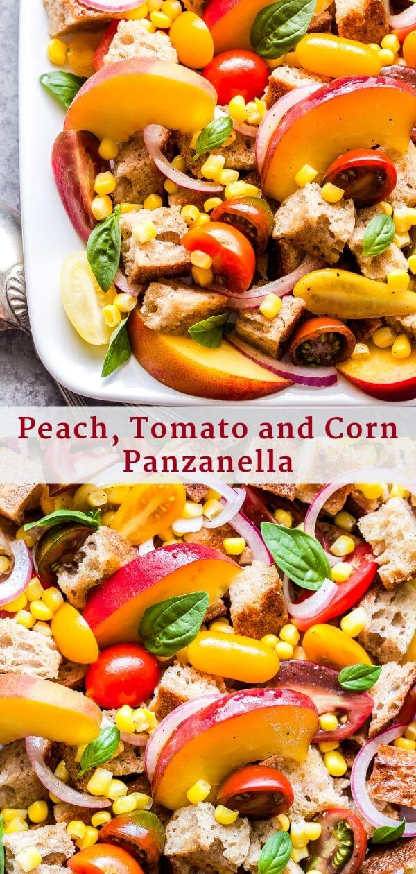 Peach, Tomato and Corn Panzanella Pinterest collage