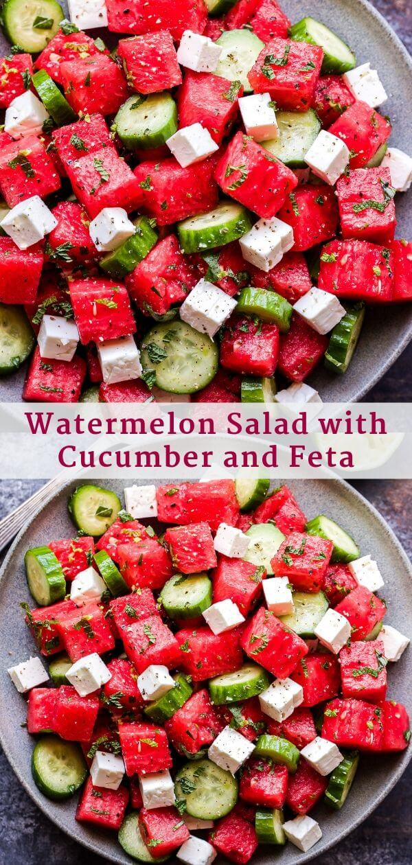 Watermelon Salad with Cucumber and Feta Pinterest Collage
