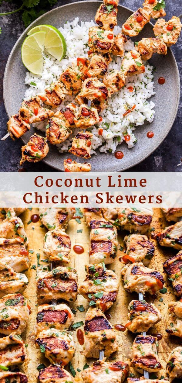 Coconut Lime Chicken Skewers Pinterest Collage