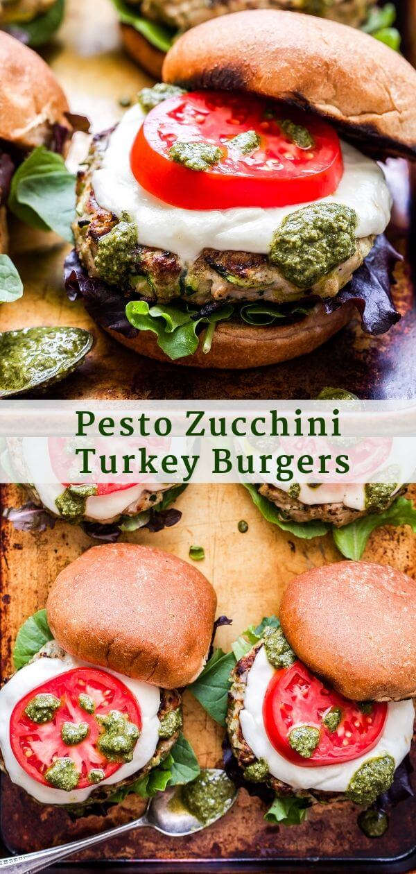Pesto Zucchini Turkey Burgers Pinterest Collage