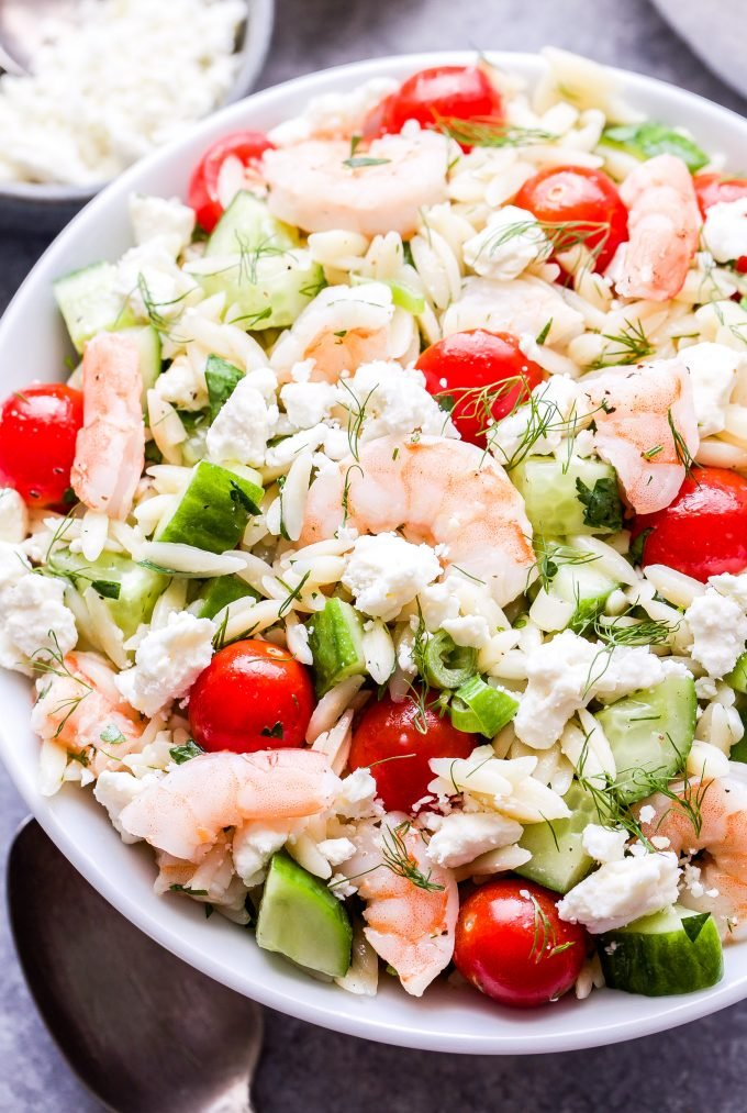Shrimp Orzo Salad with Feta and Herbs in white serving bowl.