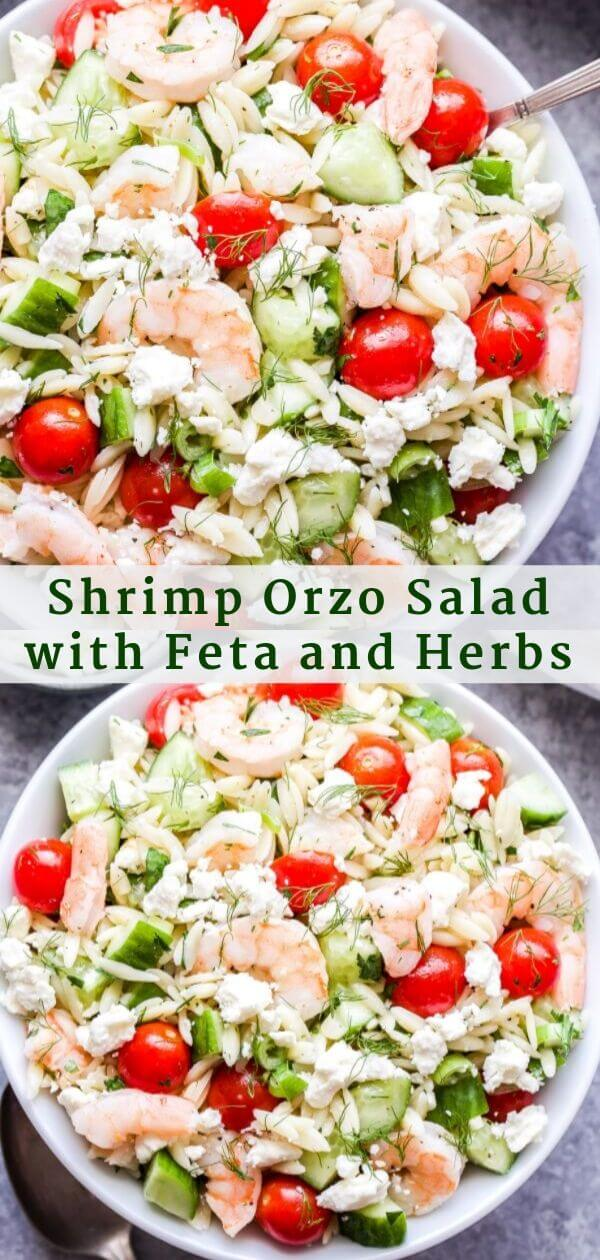Shrimp Orzo Salad with Feta and Herbs Pinterest Collage.
