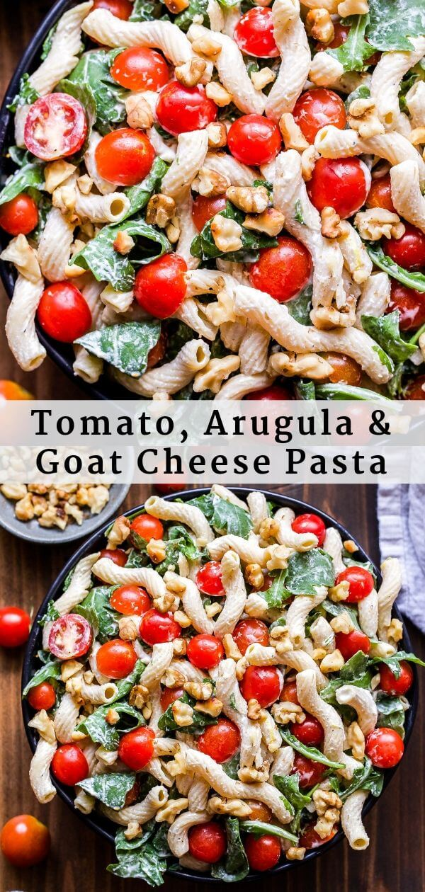 Tomato, Arugula and Goat Cheese Pasta Pinterest Collage