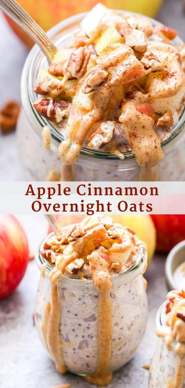 Apple Cinnamon Overnight Oats Pinterest collage