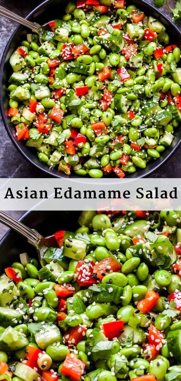Asian Edamame Salad Pinterest Collage