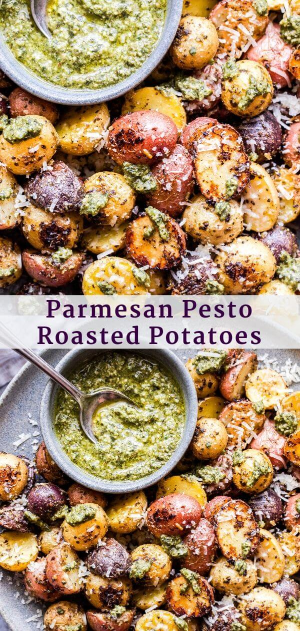 Parmesan Pesto Roasted Potatoes Pinterest collage.