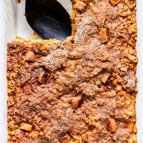 Pumpkin Apple Baked Oatmeal with a piece cut out.