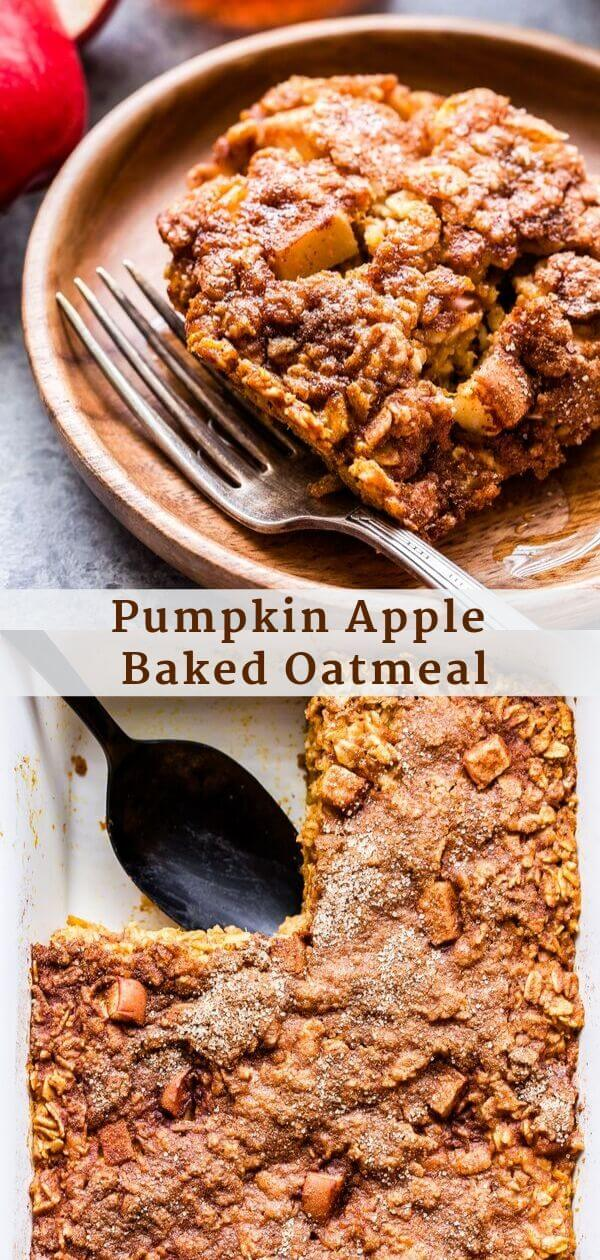 Pumpkin Apple Baked Oatmeal Pinterest collage.
