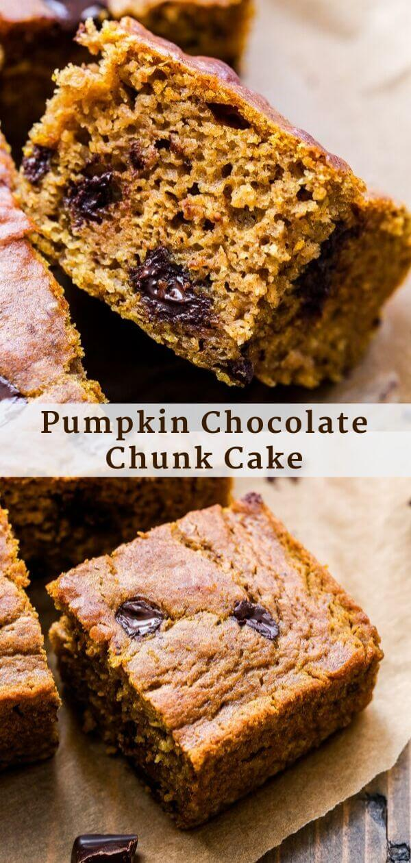 Pumpkin Chocolate Chunk Cake Pinterest collage