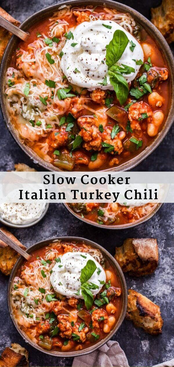 Slow Cooker Italian Turkey Chili Pinterest collage