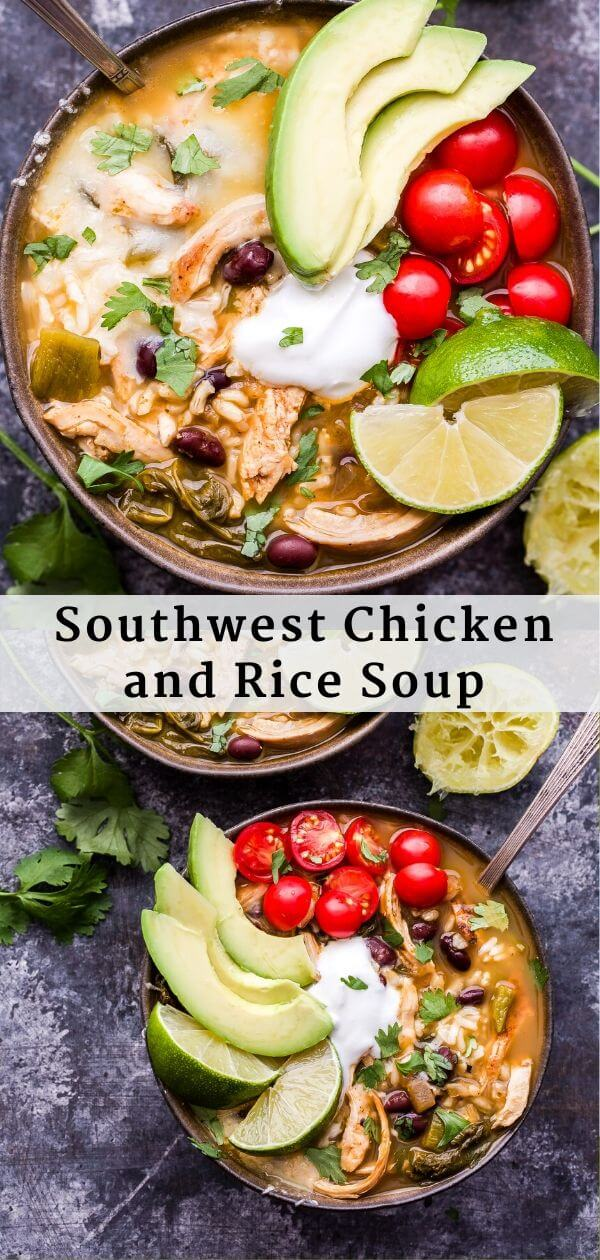 Southwest Chicken and Rice Soup Pinterest collage.