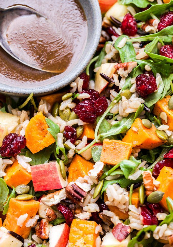 close up photo of Sweet Potato, Wild Rice and Arugula Salad