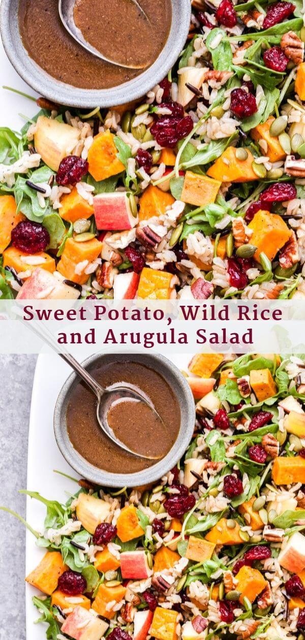 Sweet Potato, Wild Rice and Arugula Salad Pinterest collage.
