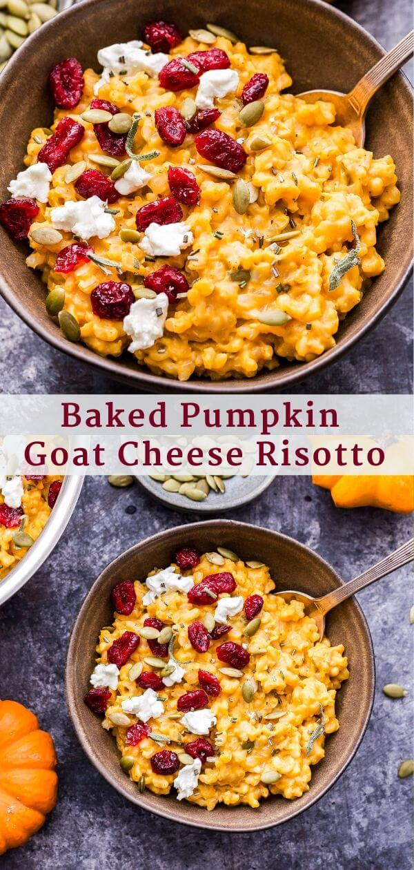 Baked Pumpkin Goat Cheese Risotto Pinterest Collage.
