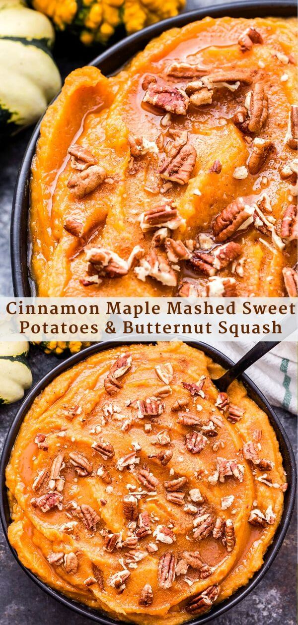Cinnamon Maple Mashed Sweet Potatoes and Butternut Squash Pinterest collage.