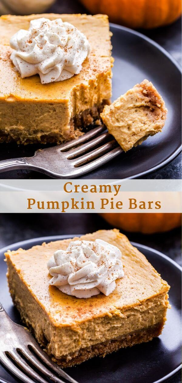 Creamy Pumpkin Pie Bars Pinterest collage.