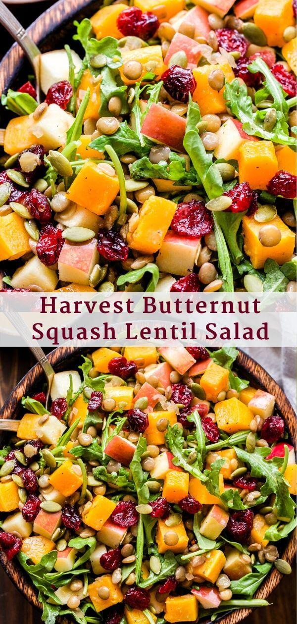 Harvest Butternut Squash Lentil Salad Pinterest collage.